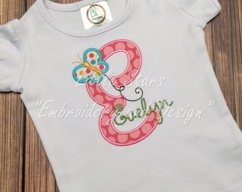 Initial with Butterfly and Name - Personalized and Embroidered
