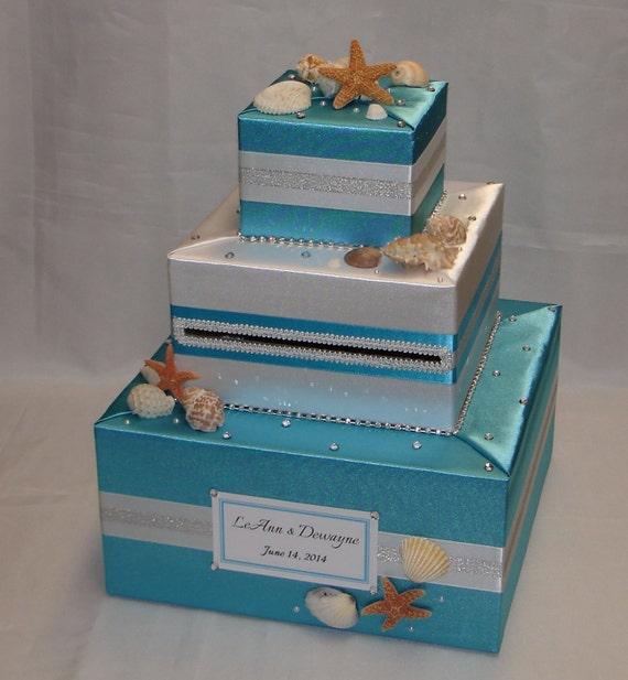Beach Theme Home Decor Shadow Box Beach Gift: Elegant Custom Made Beach Theme Card Box-seashells