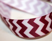 Maroon Chevron Ribbon 7/8 inch, Burgundy Stripe Ribbon 5, 10 or 20 yards