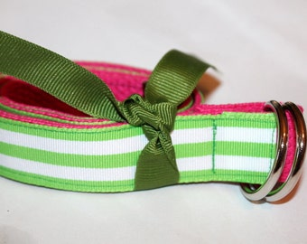 Girls Green Stripe Belt Pink and Green Girls Belt Reversible Girls Belt Pink D Ring Belt Green and Pink Girls D Ring Girls Cinch Belt