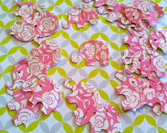 50 Pink with white flowers MODERN ELEPHANT DECOR  1 inch Baby Shower Confetti, Birthday party ,scrapbooking, cards 50 cs