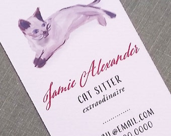 Cat Sitter, or Pet Sitter Business Card - Set of 50