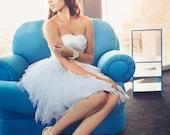 SALE - Ready to Ship - Short Wedding Dress - Reception Dress, Tulle Wedding Dress, Sweetheart Neckline, Ruched Bodice
