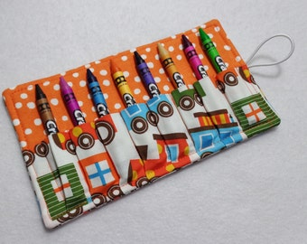 Train print Crayon Roll Up. Ready to Ship