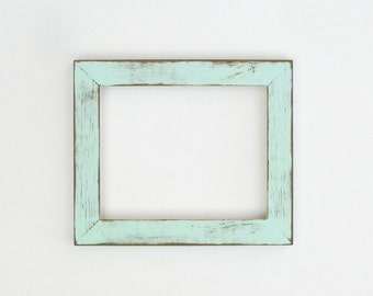 Distressed mint frame - 8x10 hand-painted, lightly distressed picture frame, texture, layered, unique frame