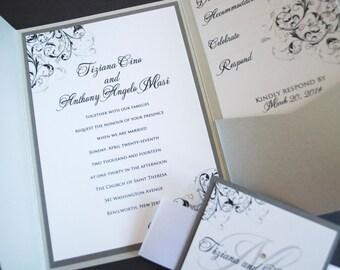 Pocketfold Wedding Invitations - Pocket Invitations - Wedding Invitations - Elegant Wedding Invitations - Custom Wedding Invites
