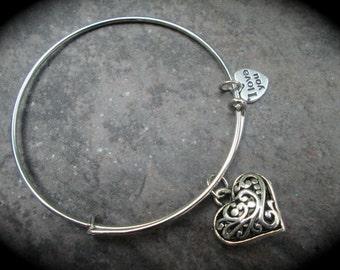 SALE Filigree Heart Adjustable bangle bracelet  withI Love You charm Valentines Day puffed heart Charm Bracelet