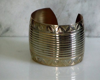 Cuff Bracelet, Mid Century Metal Cuff, Vintage Costume Jewelry