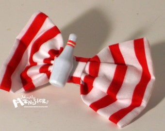 Hair Bow Bowling Pin red and white Stripes