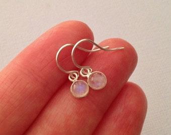 Tiny Moonstone Earrings In Sterling Silver Tiny Rainbow Moonstone Earrings in Sterling