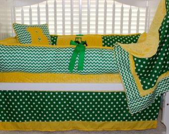 "Custom baby bedding ""Brock"" 6 pc set John Deere inspired"