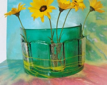 Fused Glass Table Vase Transparent Emerald Green Art Glass Home Decor Flowers Window Art Bud Vase Gifts Under 75 Dollars Gifts For Her