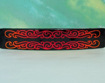 Large Dichroic Fused Glass Barrette Hair Barrette Red Black Copper Gold Sandblasted Unique Dichroic Jewelry Women Gifts Under 30 Dollars