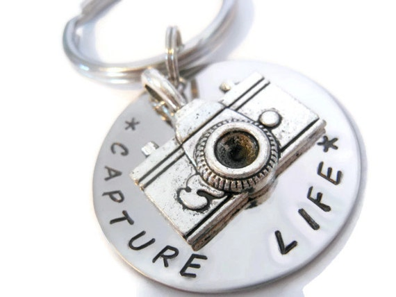 Capture Life Keychain, Hand Stamped Key chain for Women or Men photographers from Moonstone Creations