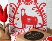 Once A Year Book -  Red Horse (LAST CHANCE - DISCONTINUED) - Hand bound baby's photo album, journal and first words notebook all-in-one