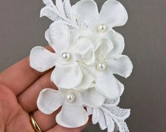 SALE - Flower Girl Headband - Wedding - Bridal Vintage Lace and Ivory Satin flowers Headband - Baby to Adult Handmade Headband - Christening