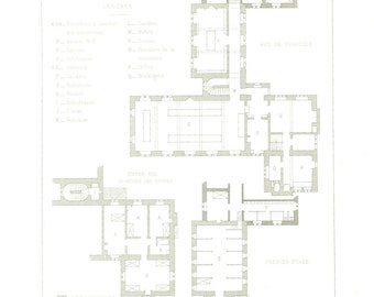 1873 Floor Plan, Antique Print, Boarding School, Swansee, Wales, Architecture