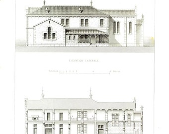 1873 French Architectural Print Elevation and Section Salle d' Asile, Nice, France