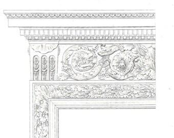 1864 Antique Architectural Print,  Details of a  Door, 17th Century Architecture, Paris