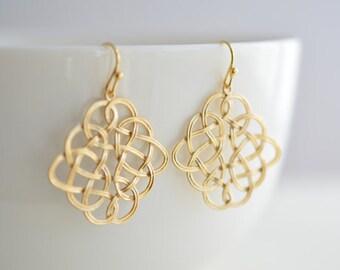 10% OFF, Oriental Wire Art Pendant gold earrings, Gold earrings, Wedding jewelry, Bridal earrings, Wire earrings, Anniversary, Clip earrings