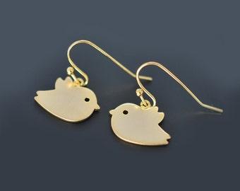 10% OFF, Bird earrings, Gold earrings, Dangle earrings,Silver necklace,Bridal earrings,Gift for her,Vintage,Mother gift,Non pierce earrings