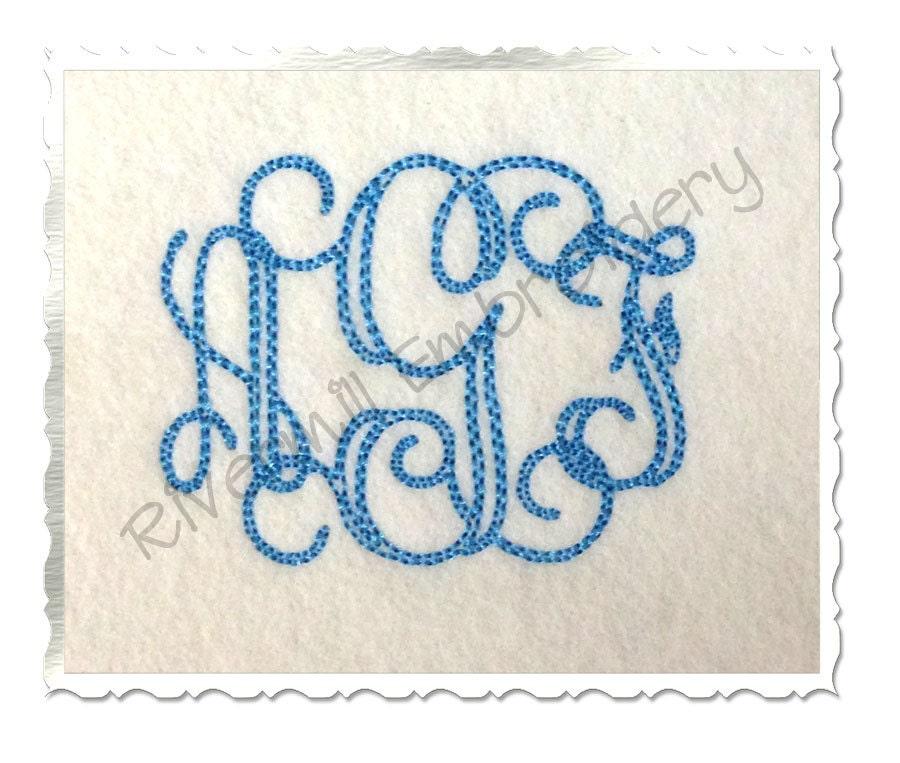 Bean stitch vine monogram machine embroidery font alphabet