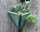 Geometric Triangle Wall Planter with Dots Design - Small Wall Pocket - Modern Home Decor - Aqua Mist - MADE TO ORDER