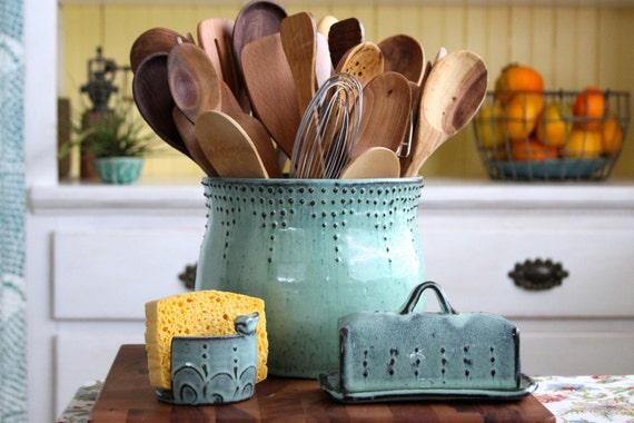 ... Large Kitchen Utensil Holder Large Kitchen Utensil Holder Aqua Mist By  Backbaypottery ...