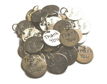30 Thank You Charms With a Ring for party favors embellishment