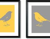 Whimsical Bird Art Prints, Bird Silhouette, Bird Artwork