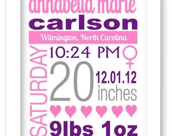 Baby girl birth print, Baby Boy Keepsake, Nursery Print, Announcement, Baby Shower Gift - baby monogram, baptism gift
