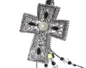 Gifts Under 20, Easter Gifts, SALE Christian Cross Antique Silver with Pearls and Rhinestones