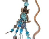 Under 20 Aqua Blue Owl Pewter Bookmark OOAK Hand-Beaded with Free Hardcover Blank Journal