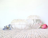 Vintage Clear Glass Trinket Storage Jewelry Containers Feminine Decor Girls Room Round Sphere Lidded Bowls