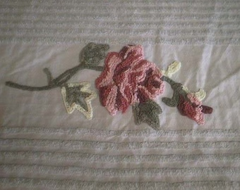 """Ret Rac GRAY with Lines, Two-Toned Gray and White Pops and Two Gorgeous Pink ROSES Vintage Chenille Bedspread Fabric - 25"""" X 44"""" - #4"""