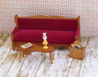 Miniature Wooden Vintage Dollhouse Furniture Dollhouse Sofa, Coffee table and Magazine Rack Vintage Shackman