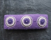 Lavender Fields Embroidered Eco Felt Hair Barrette Clip - Purple - Violet - Cream - Recycled