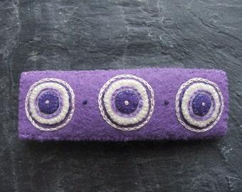 Lavender Purple Embroidered Eco Felt Hair Barrette Clip, Recycled Accessories, Felt Applique Hair Grip, Summer Accessories, Summer Flowers