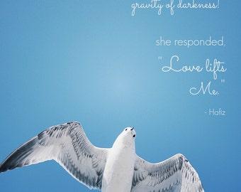 Hafiz Quote + Fine Art Photography | Inspirational Wall Art | Seagull Wall Print Photography | Blue + White | Meditation Room Zen Art Print