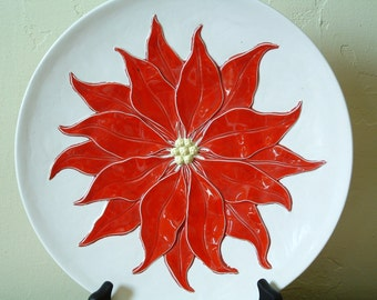 Vintage Poinsettia Plate Platter Ceramic Red White Christmas Serving Platter Cookie Plate Art Pottery Holland Mold