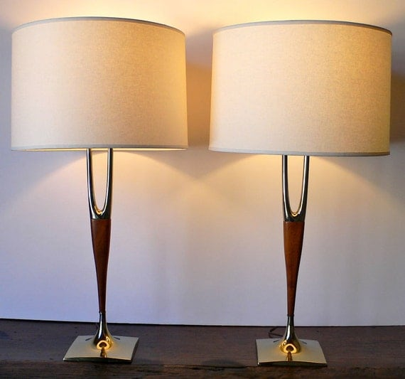Lamp S: 2 Mid Century Lamps LAUREL Wishbone Brass & By OldMillVintage