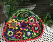 SALE! Handmade Felt Hand Bag with Embroidered Flowers and Embellishments