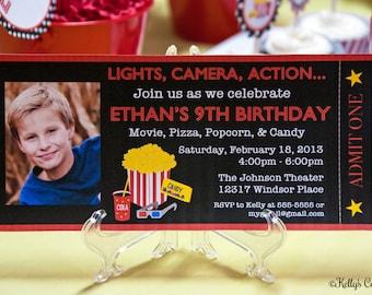 Movie Night Ticket Photo Invitation... Custom, Printable, Digital