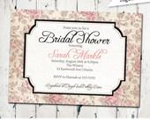 Pink Rustic Bridal Shower Invitation, floral bridal shower invite, antique bridal invitation, Digital, printable file (JPD204)