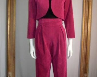 Vintage 1980's Ultrasuede Magenta Bolero Jacket & Capri Pant Set - Size 10