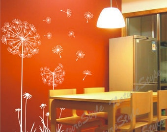wall decal wall decal nursery flower vinyl wall decal dandelion wall stickers wall decal floral wall decal baby white decal-Dandelions