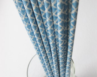 25 Paper Blue and White Damask Drinking Straws - Free Printable Straw Flags