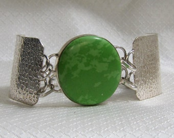 """Modern """"Green Mohave Turquoise"""" and Sterling Bracelet"""