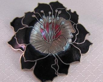 Black Enameled Poppy Brooch