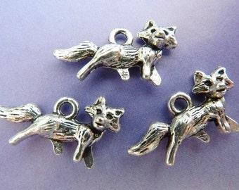 6 pendants, fox, hunting, Oktoberfest, bavarian, antique silver